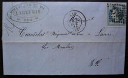 Pau 1868  Labeyrie Vins Et Eau De Vie, Lettre Pour Lanne Par Mauléon (Curutchet Marchand De Vins) - 1849-1876: Période Classique