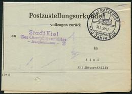 BUND 1955, POSTZUSTELLUNGSURKUNDE, UNFRANK. MIT SST RATZEBURG 700 JAHRE DOM - Unclassified
