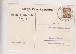 GERMANY DANZIG 1929 Nice Postcard To Austria - Dantzig