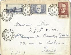 THEME OISEAUX - CONGRES INTERNATIONAL ORNITHOLOGIQUE DE ROUEN 1938, CACHETS RONDS MANUELS A,FRANCE, V.HUGO, VERSAILLES - Mechanical Postmarks (Advertisement)