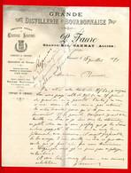 (Ref : F&T 113) Factures & Documents Commerciaux GRANDE DISTILLERIE  BOURBONNAISE P. FAURE Grande -Rue GANNAT (Allier) - 1800 – 1899