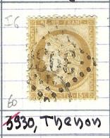 FRANCE Classique: Le Y&T 55, Obl. GC 3930 (Thenon, Ind.6), DORDOGNE - 1871-1875 Ceres