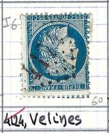 FRANCE Classique: Le Y&T 60Aa, Obl. GC 4124 (Vélines, Ind.6), DORDOGNE, Petit PAC - 1871-1875 Ceres