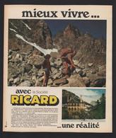 Pub Papier 1973 Boisson Alcool RICARD Montagne Randonée Vallée L' UBAYE 04  Alpes Jausiers Centre De Loisirs - Publicidad
