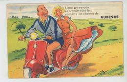 """AUBENAS - Jolie Carte à Système Couple En Scooter """"Notre Promenade En Scooter Vous Fera Connaitre Les Charmes De ... - Aubenas"""