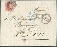 N°12 - Médaillon 40 Centimes Vermilllon , Très Bien Margé Et Bord De Feuille Inférieur, Voisin En Haut, Obl. P.73 Sur Le - 1858-1862 Medallions (9/12)