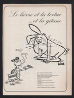 Publicite Papier 1965 Tabac Cigarettes GITANE Cigarette Fable De La Fontaine Lievre Tortue Humour Dessin BARBEROUSSE - Advertising