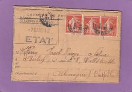 CHEMINS DE FER DE L'ETAT. AVIS DE SOUFFRANCE DE BECON POUR BERLIN,1912. - Brieven En Documenten