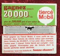VintageAncien Ticket De Tiercé Mobil -☛Hippisme Course De Chevaux -☛ancêtre Du PMU -lire Règlement - Equitation