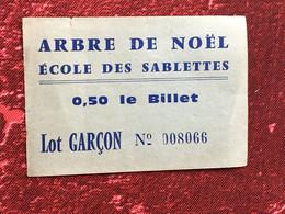 Ecole Des Sablettes Près De La Seyne Sur Mer Tamaris VintageArbre De Noël Ancien Ticket Billet De Tombola-☛Lot Garcons - Biglietti Della Lotteria