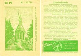 """DETMOLD Lippe 1929 Deko Eintrittskarte """" Das Hermannsdenkmal Erlaubniskarte Zum Besteigen """" + Rs Sinalco Reklame - Tickets D'entrée"""