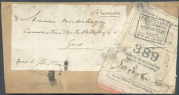 Devant De Colis 'franco' Vers Gand Avec Etiquette Blanche Et Griffe BRUXELLES RUE DE LA LOI 10 Février 1902 / 389. - 1895-1913