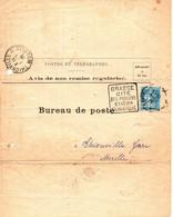 AVIS DE NON REMISE . 25 CTS SEMEUSE +TAXE 25 CTS DERRIERE . BRUNO COURT GRASSE - 1921-1960: Modern Tijdperk