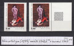 France (1984) Y/T Variété 2343b** (femme Rose Au Lieu De Lilas) + Normal 2343 ** (lot 1) - Varietà: 1980-89 Nuovi