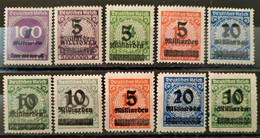 ALLEMAGNE - 1923 - N° 310/319 * (voir Scan) - Nuovi