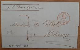 Outremer Nantes Rouge (Loire Atlantique) 1843 - De Cayenne - Schiffspost