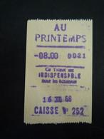 Ticket De Caisse Du PRINTEMPS / Paris - Invoices