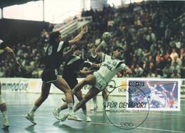 718  Handball: Carte Maximum 1er Jour D'Allemagne, 1990 -  Handball Maximum Card From Germany With FDCancel - Balonmano