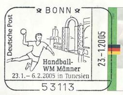 620  Championnat Du Monde De Handball 2005, Tunisie: Oblit. Temp. D'Allemagne -  World Men's Handball Champ. Tunisia - Balonmano