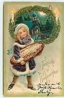 N°18134 - Carte Gaufrée - Fröhliche Weihnachten - Fillette Portant Un Gros Pain - Autres