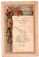 Messageries Maritimes - Menu 1892 & 1898 - Paquebot Djennah & Sénégal - 2 Scans - Afrique & Asie - Serpent Oiseau Temple - Menükarten