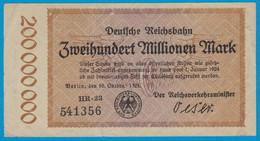 Reichsbahn Berlin 200 Millionen Mark Banknote 1923 VF    (19024 - Unclassified