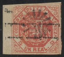 Venezuela 1873 1r Red Ovpt. Type II Inverted, Used With Scarce Mute Cancel, Sheet Margin, Superb Quality, MiNr. 21IIF - Venezuela