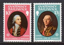 GUERNSEY - 1980 EUROPA CEPT PERSONALITIES SET (2V) FINE MNH ** SG 212-213 - Guernsey