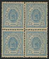 Luxembourg 1884 25c Blue Perf. 12 1/2 Block Of 4 MH */MNH ** Orig. Gum, Very Fresh, MiNr. 43D - 1859-1880 Wappen & Heraldik