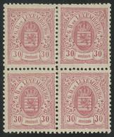 Luxembourg 1880 30c Rose-lilac Perf. 12 1/2 X 12 Block Of 4 MH */MNH ** Orig. Gum, Very Fresh, MiNr. 44B, Uncommon - 1859-1880 Wappen & Heraldik