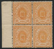 Luxembourg 1875 40c Orange Narrow Margins Block Of 4 MH */MNH ** Orig. Gum, Sheet Margin, Fault-free, MiNr. 35 - 1859-1880 Wappen & Heraldik