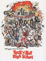 Ramones Rock N Roll High School Punk Rock Poster Postcard - Musik Und Musikanten