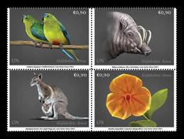 United Nations (Vienna) 2021 Mih. 1102/05 Flora And Fauna. Parrots. Babirusa. Kangaroo. Orchid MNH ** - Neufs