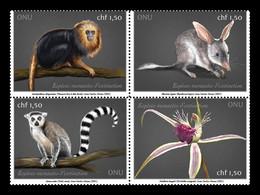United Nations (Geneva) 2021 Mih. 1129/32 Flora And Fauna. Monkeys. Bilby. Lemur. Orchid MNH ** - Neufs