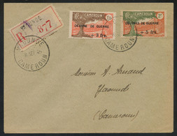 """Cameroun OEUVRES DE GUERRE SANS """"S"""" Ovpt. (Yv. 234 Var.) + Normal (Yv. 235) On 1945 Reg. Cover From Kaounde, VERY RARE - Storia Postale"""