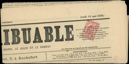 JOURNAUX - Let. 9 : 2c. Rose, Obl. TYPO Sur Journal LE CONTRIBUABLE Du 19/5/70, TB Cote : 400 - Periódicos