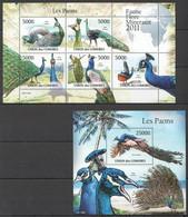 UC223 2011 UNION DES COMORES FAUNE FLORE MINERAUX BIRDS LES PAONS 1KB+1BL MNH - Peacocks