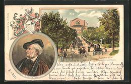 Lithographie Bayreuth, Auffahrt Zum Bühnenfestspielhaus, Richard Wagner - Bayreuth