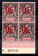 Réunion N° 75 - Colonie Française - Bloc De 4 Neuf ** - Bord De Feuille Avec Numéro De Planche - Type Groupe Surchargé - Nuovi