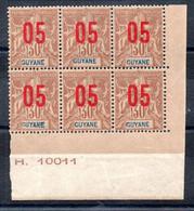 Guyane N° 70 - Colonie Française - Bloc De 6 Neuf ** - Bord De Feuille Avec Numéro - Type Groupe Surchargé - Nuovi