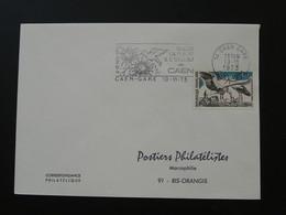 Flamme Concordante Salon Fleur Et Oiseau Caen 14 Calvados 1973 - Mechanical Postmarks (Advertisement)