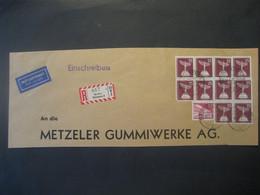 Deutschland Briefausschnitt Westberlin 1957- Reko Geschäftsbrief Mit 4er- Und 6-er Block MiNr. 147 - Used Stamps