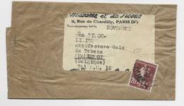 SEMEUSE 20C BRUN SEUL BANDE COMPLETE PARIS 1925 POUR BELGIQUE AU TARIF - 1906-38 Sower - Cameo
