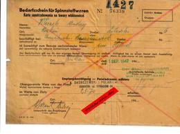 GG: Bedarfsschein Für Spinnstoffwaren, Krakau 1942 - Historische Dokumente