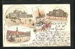Lithographie Leipzig, Börse, Neues Theater, Mendebrunnen - Theatre
