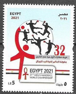 EGYPT, 2021, MNH, SPORTS, HANDBALL, 27th MEN'S HANDBALL WORLD CHAMPIONSHIP, 1v - Balonmano