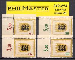 212-213 Ausstellung Je Ein Satz Ecke Oben Rechts Mit WZ Vc+Vd, Set ** Postfrisch - Unclassified