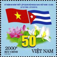 Vietnam 2371 Cuba, Drapeaux, Flore, Lotus, Orchidée - Joint Issues
