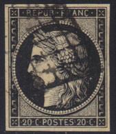 Cérès N°3 Noir/jaune, Oblitération  Grille, Pas D'aminci, Marges équilibrées. - 1849-1850 Ceres