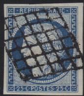 Cérès N°4 Bleu, Oblitération Grille, Pas D'aminci, Marges TTB. - 1849-1850 Ceres